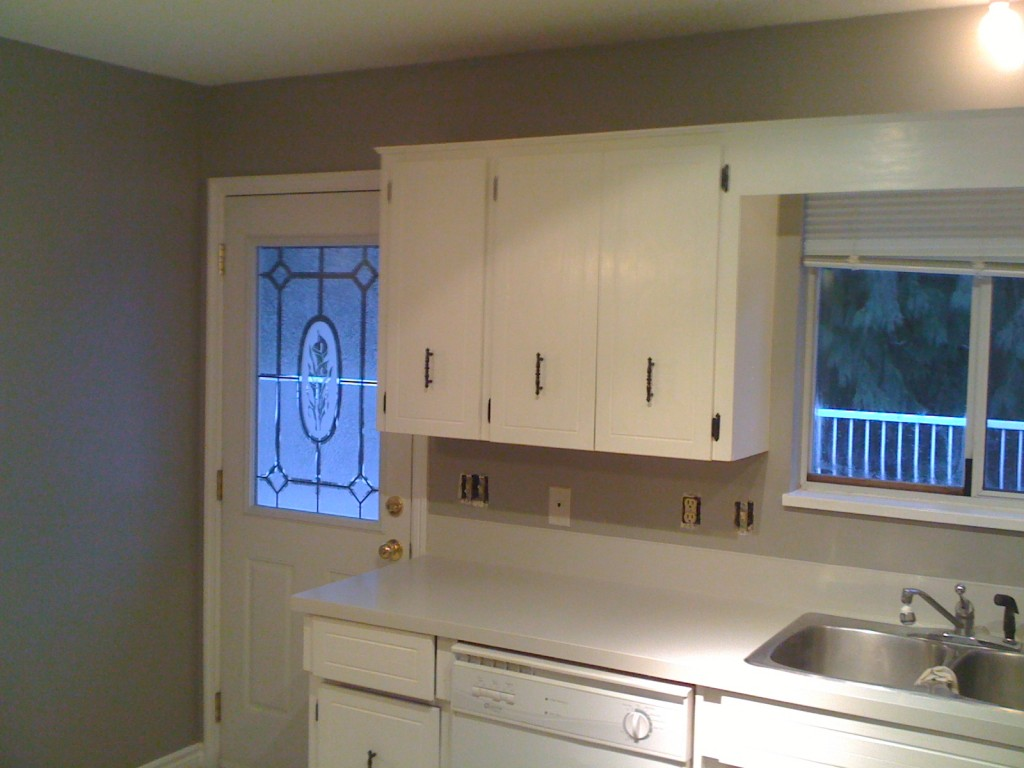 Kitchen cabinets, walls & counters painted
