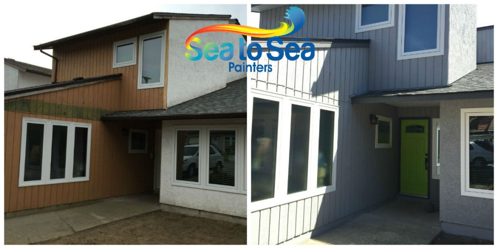 Coquitlam stucco & wood siding exterior painting