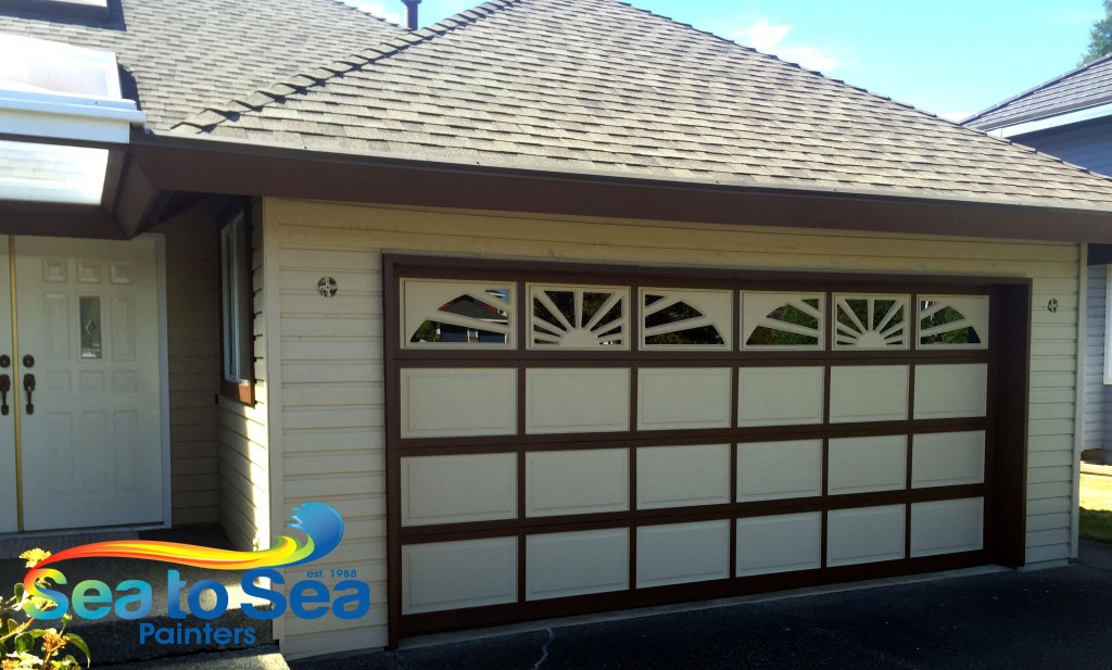 A two toned garage door completed in Surrey, BC.