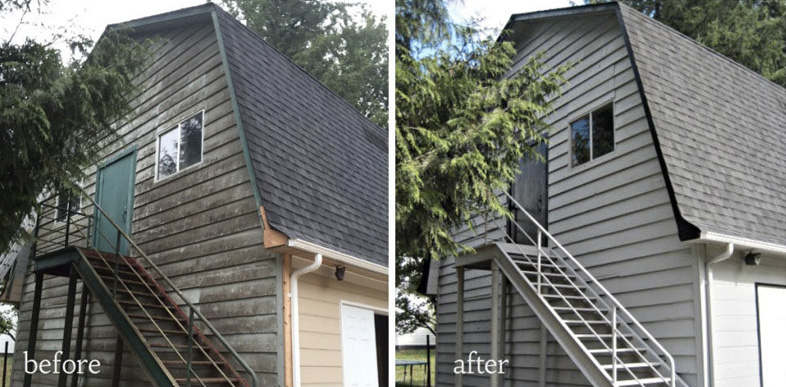 before and after of an exterior house painting project
